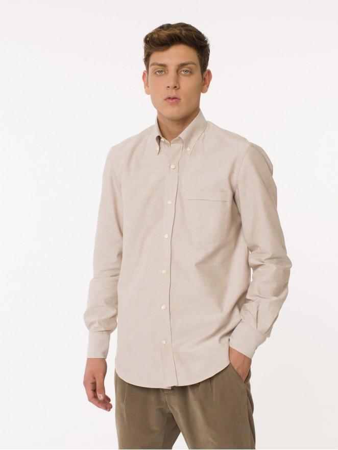 Oxford cotton shirt beige