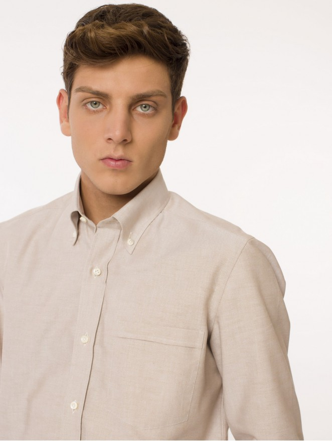 Oxford cotton shirt beige