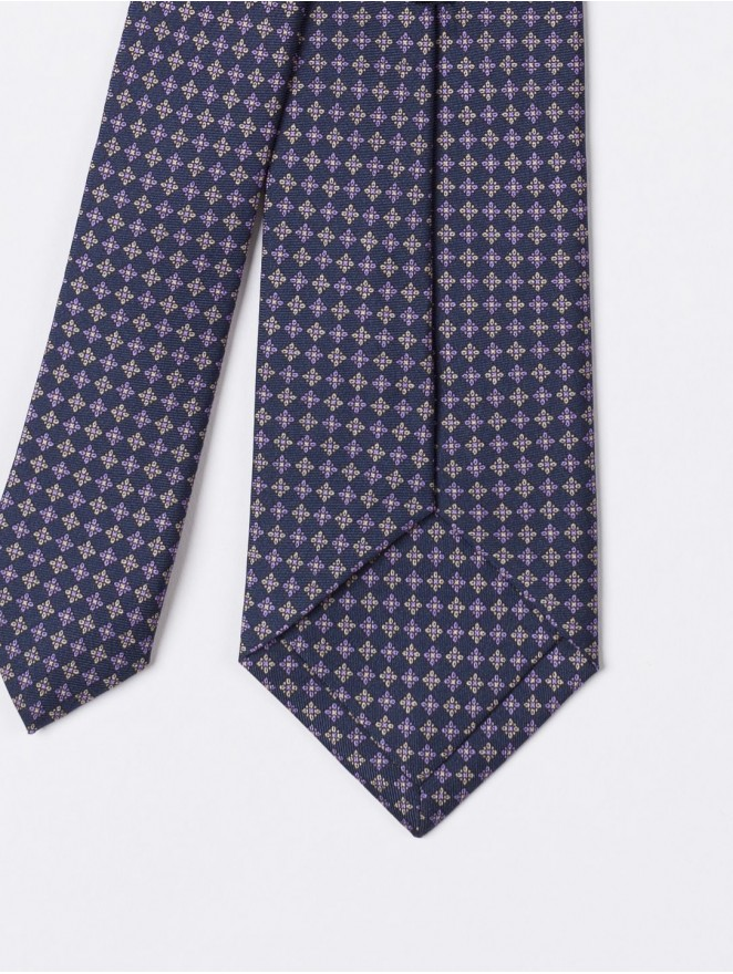 Printed silk necktie with blue micro design