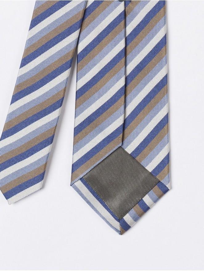 Jaquard silk necktie with light blue stripes