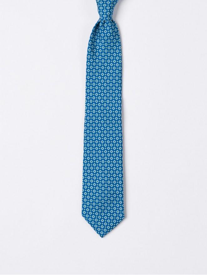 Printed silk necktie with sky blue design