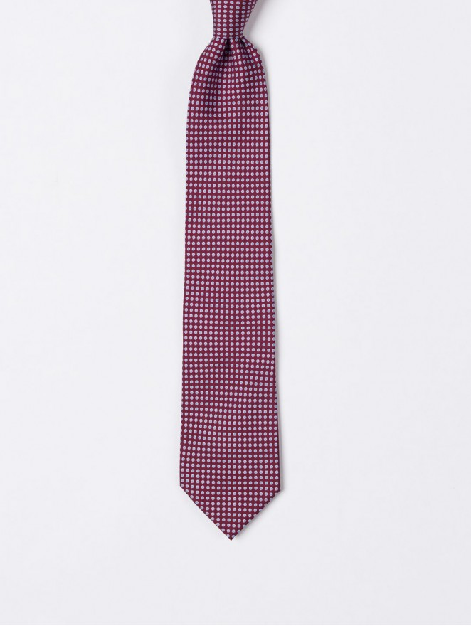Printed silk necktie  with bordeaux design