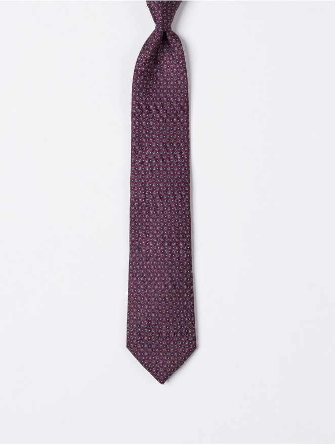 Printed silk necktie with rhombus design