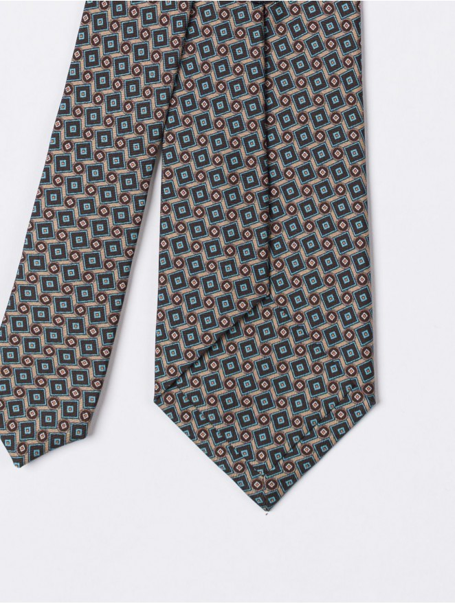 Printed silk necktie with brown design