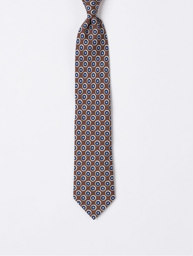 Printed silk necktie with brown circle design