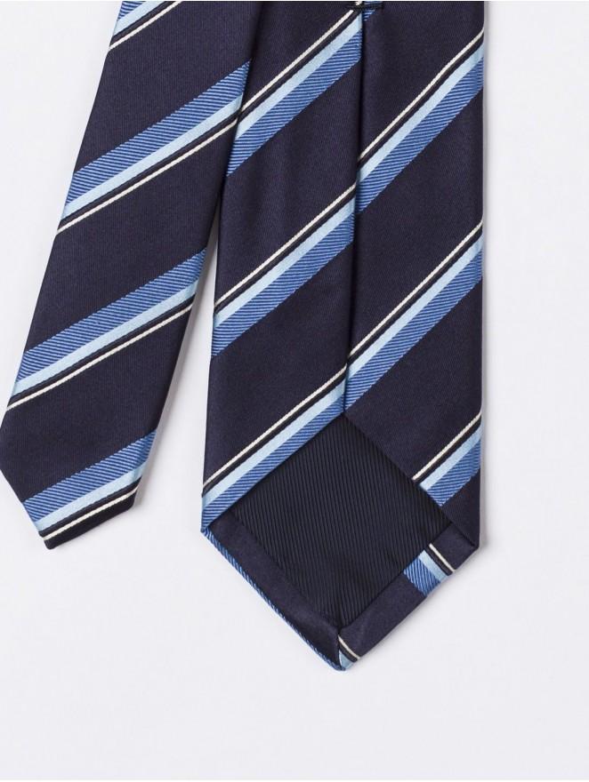 Jaquard silk necktie with blue stripes design