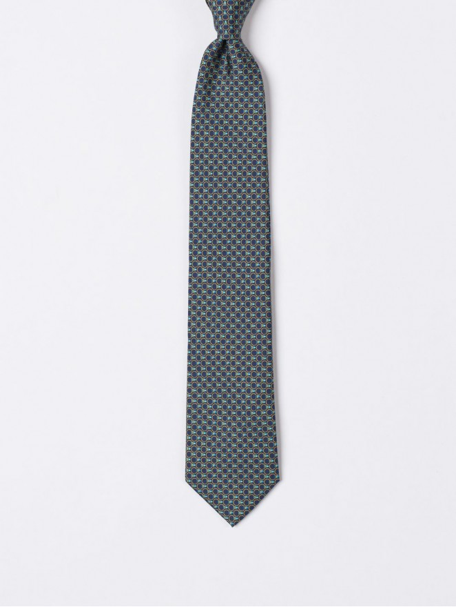 Printed silk necktie  with blu design