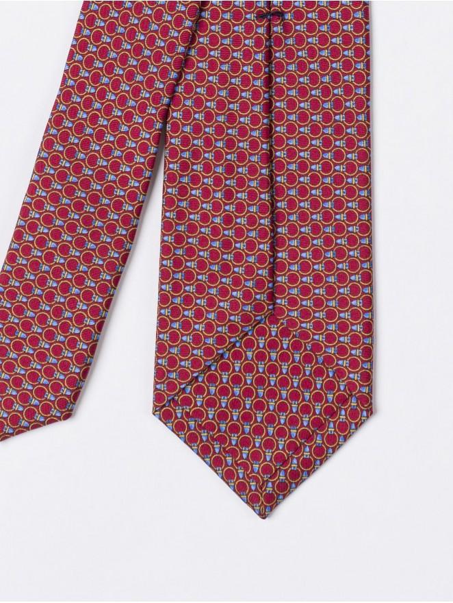 Printed silk necktie with red design