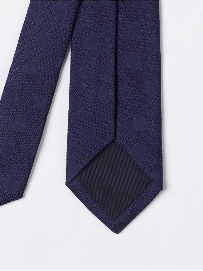 Jaquard silk necktie with blue polka dots design
