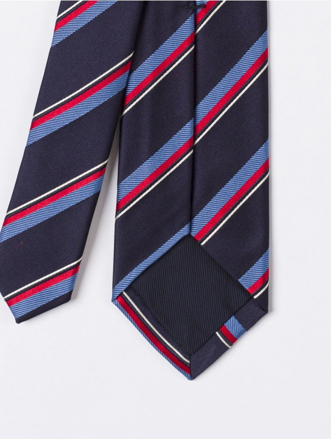 Jaquard silk necktie with regimental red and blue design