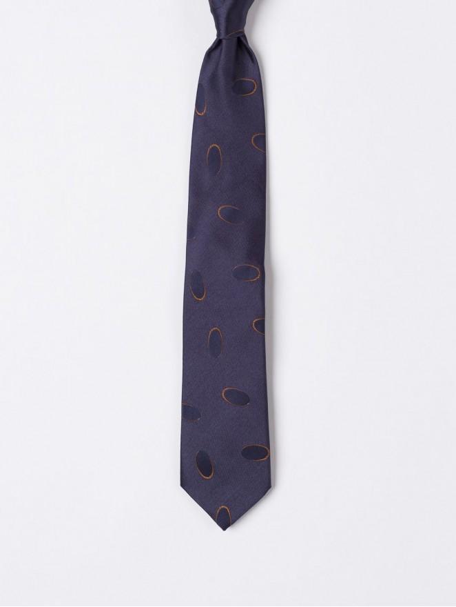 Jaquard silk necktie with brown circle design