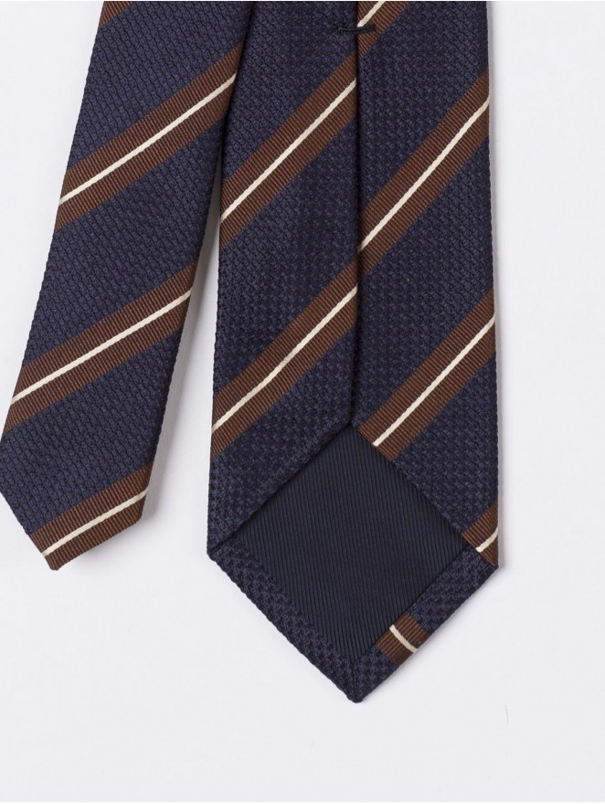 Jaquard silk necktie with blue and brown stripes