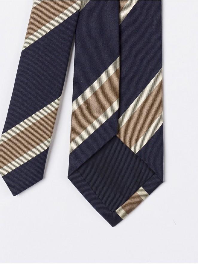 Jaquard silk necktie regimental  blue and beige