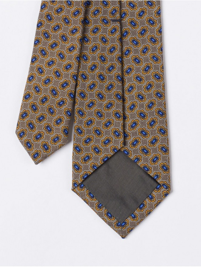 Printed silk necktie with dove-grey design