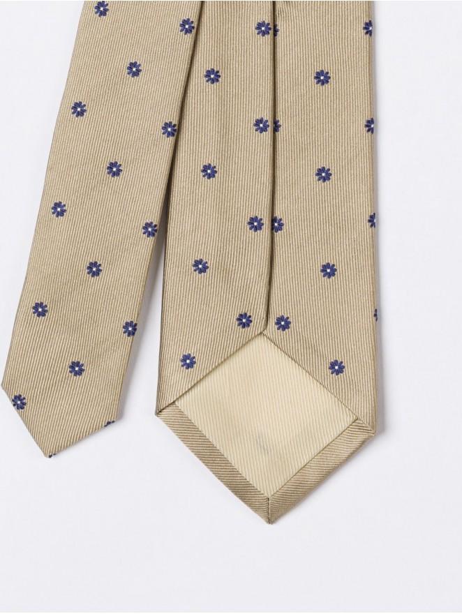 Jaquard silk necktie with beige design