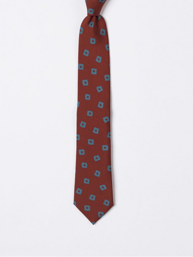 Printed twill necktie with retro rust design