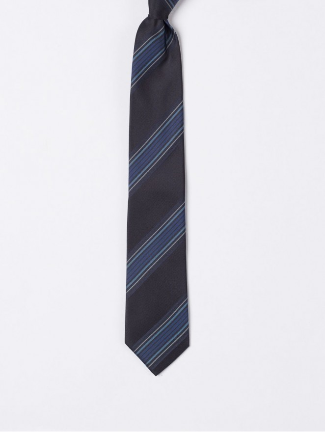 Jaquard silk necktie  with regimental blue design