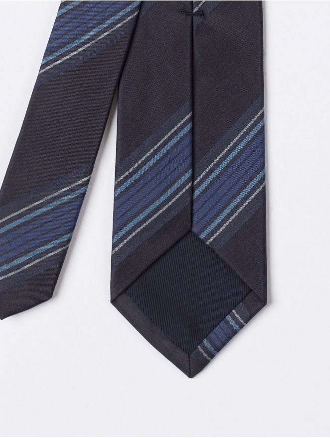 Jaquard silk necktie  with regimental blue design