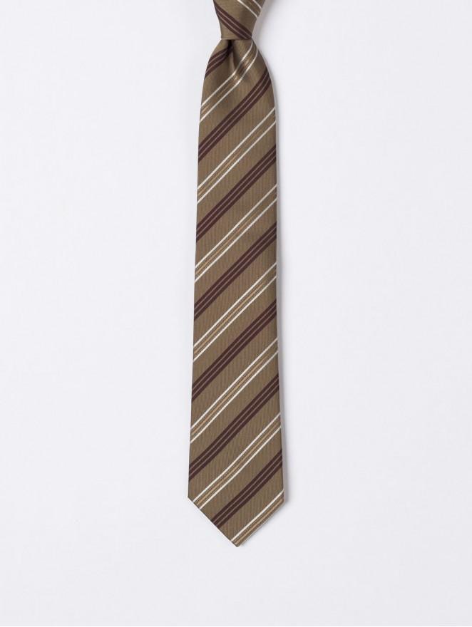 Jaquard silk necktie Brown regimental