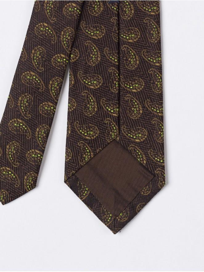 Jaquard silk necktie  with brown paisley design