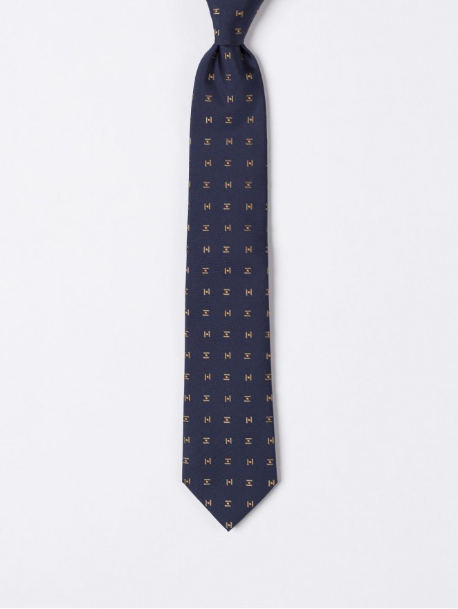 Jaquard silk necktie with blue and gold design