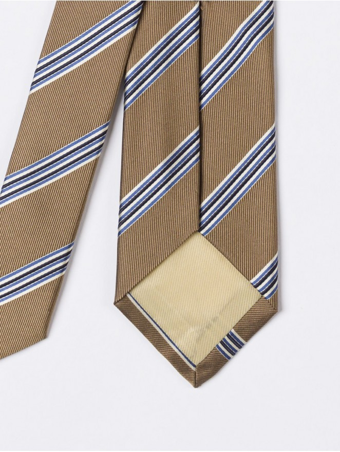Jaquard silk necktie with regimental blue and bronze design