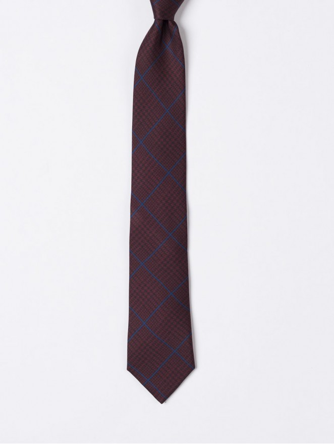 Printed silk necktie with prince of galles design