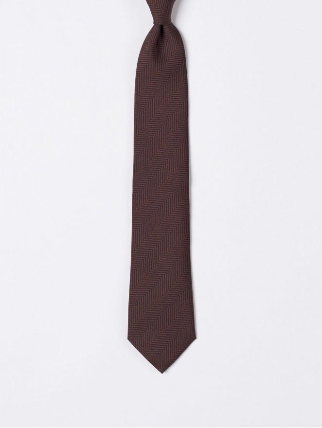 Printed twill necktie  with brown retrò design