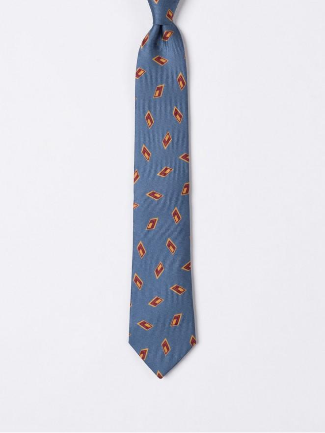 Printed twill necktie with avion archivio design