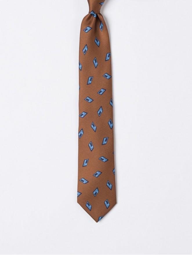 Printed twill necktie with tobacco archivio design