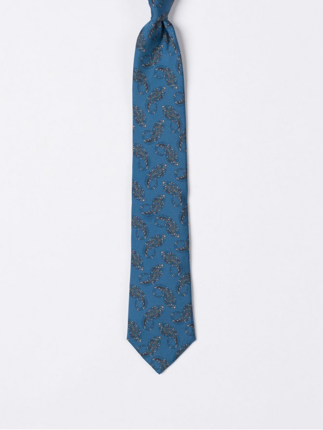 Printed silk necktie with blue cashmere design