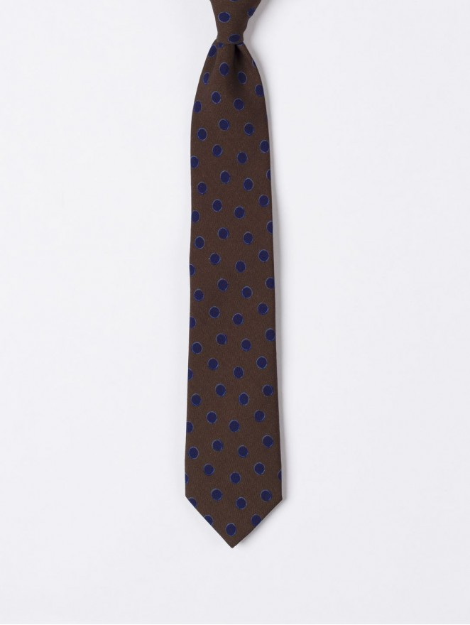 Printed wool necktiewith blue polka dots design