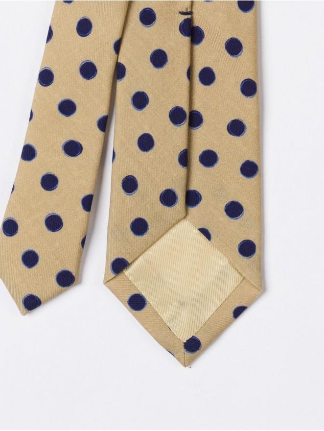 Brown printed wool necktie with blue polka dots