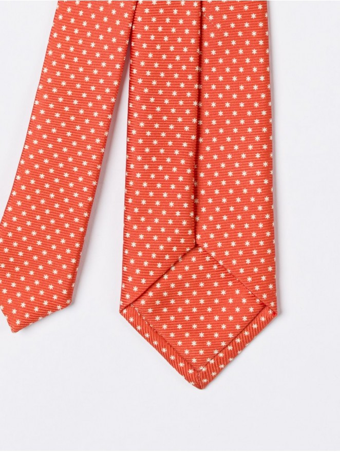 Printed silk necktie  with orange design