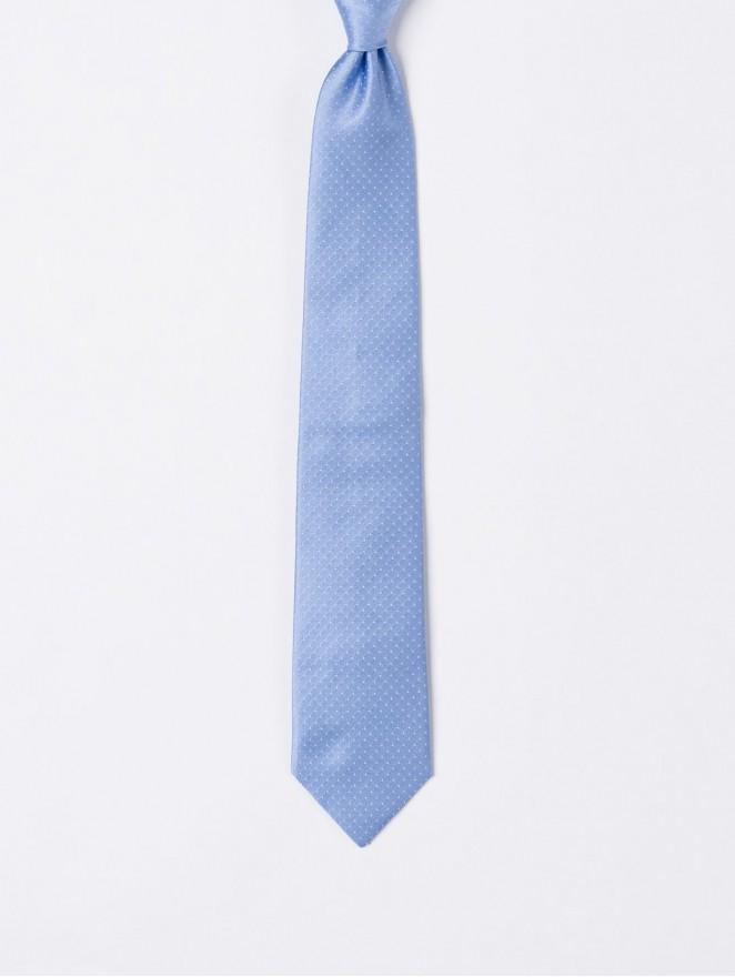 Jaquard silk necktie with light blue stitch design