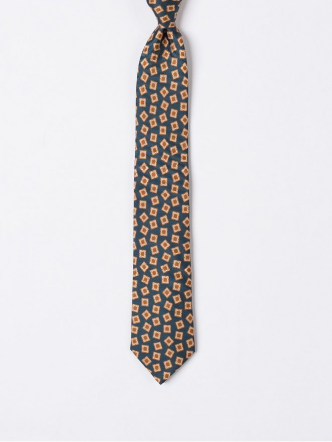 Printed silk necktie with beige and petroleum design