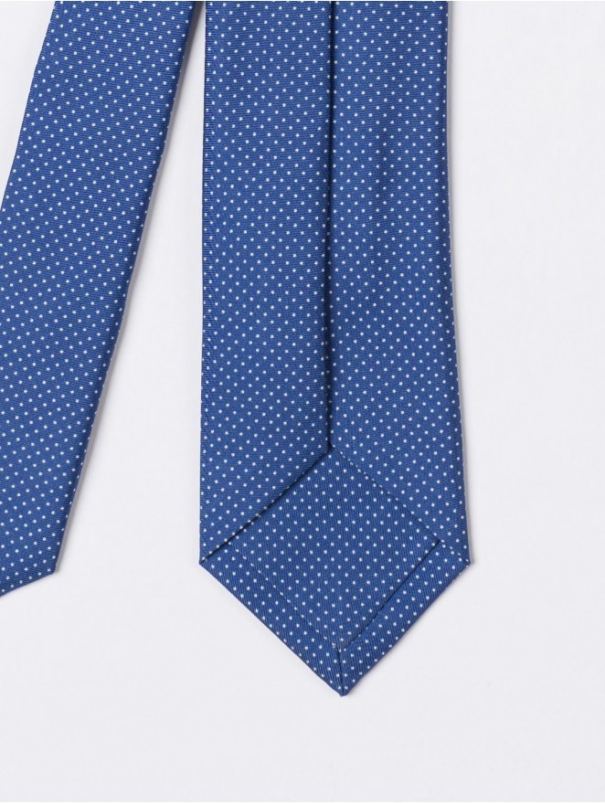 Printed silk necktie with mini polka dots light blue design