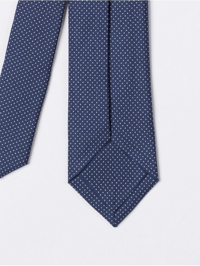 Printed silk necktie with blue mini design