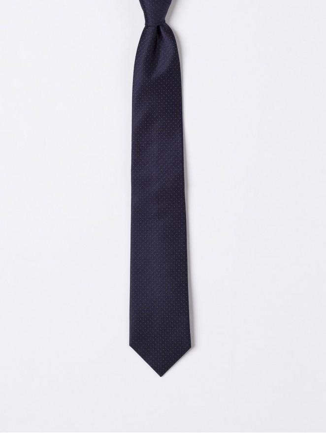 Jaquard silk necktie blue stitches design