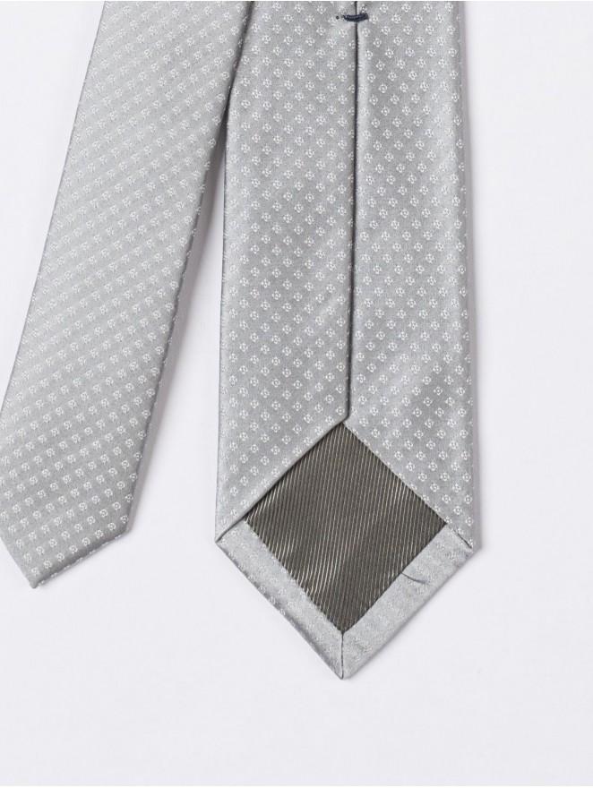 Jaquard silk necktie with light grey stitches design