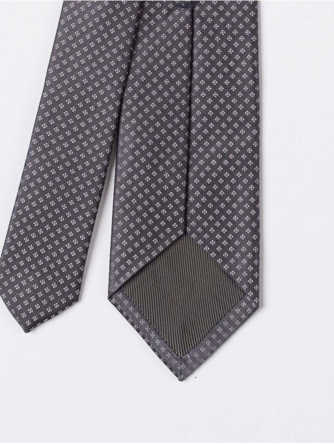 Jaquard silk necktie with dark grey stitches design
