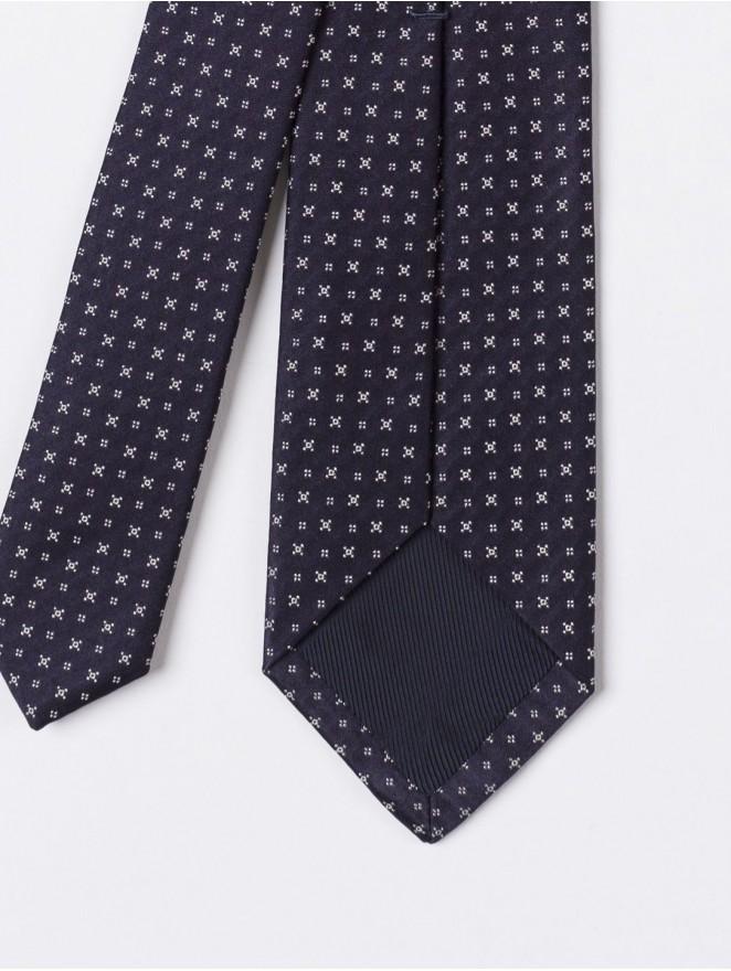 Blue jaquard silk necktie mini stars design