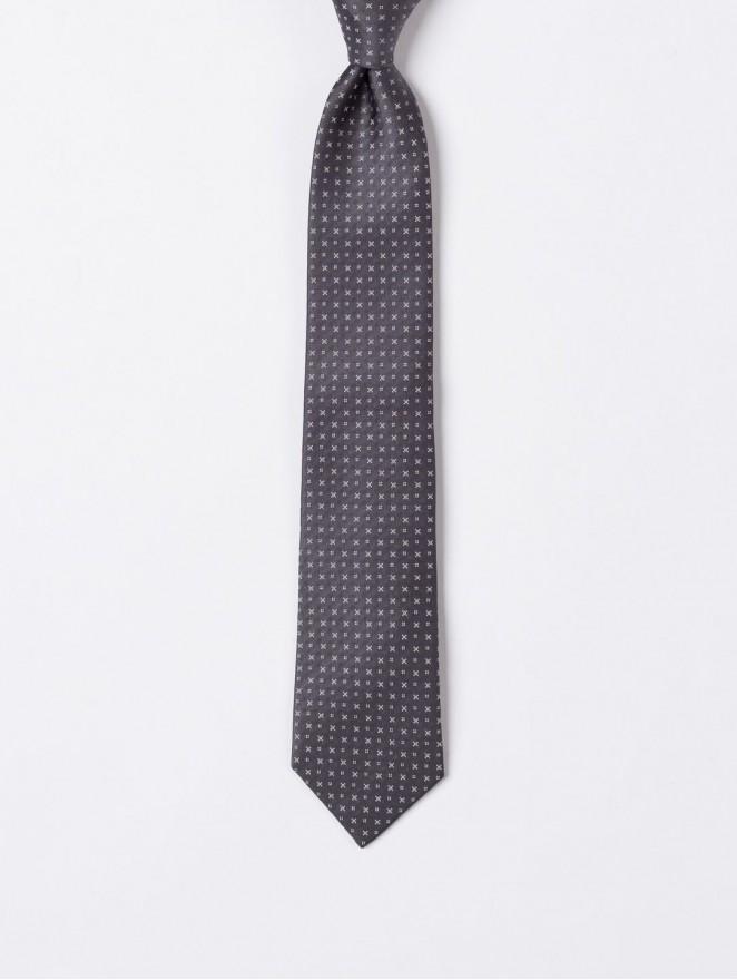 Grey jaquard silk necktie  with stitches design