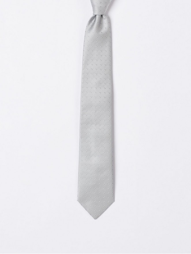 Jaquard silk necktie with pearl grey stitches design