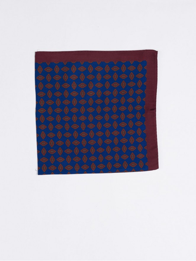 Silk and wool foulard with blue and brown design