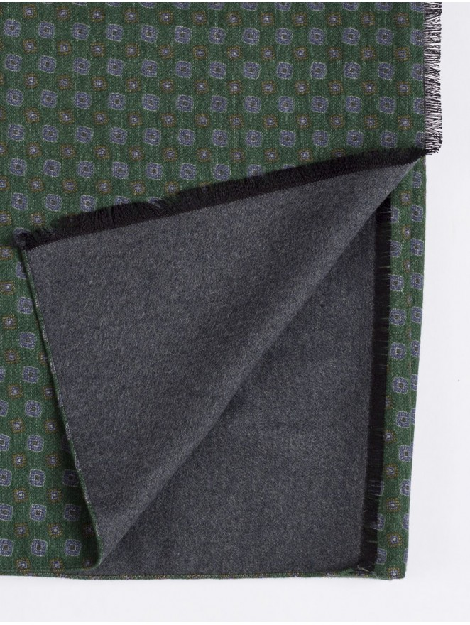Silk brushed printed scarf with green design