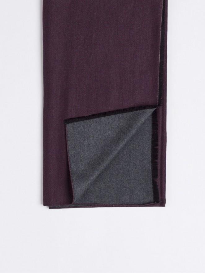 Silk brushed printed scarf prune - grey back