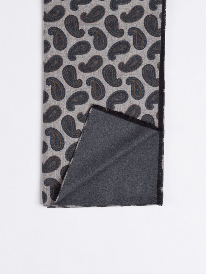 Silk brushed printed scarf grey back