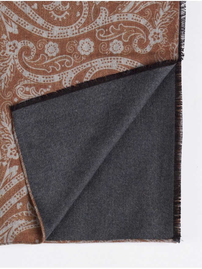 Silk brushed printed scarf with copper design