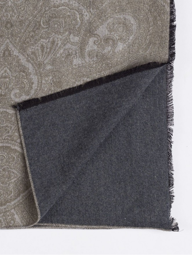 Silk brushed printed scarf double face with beige design